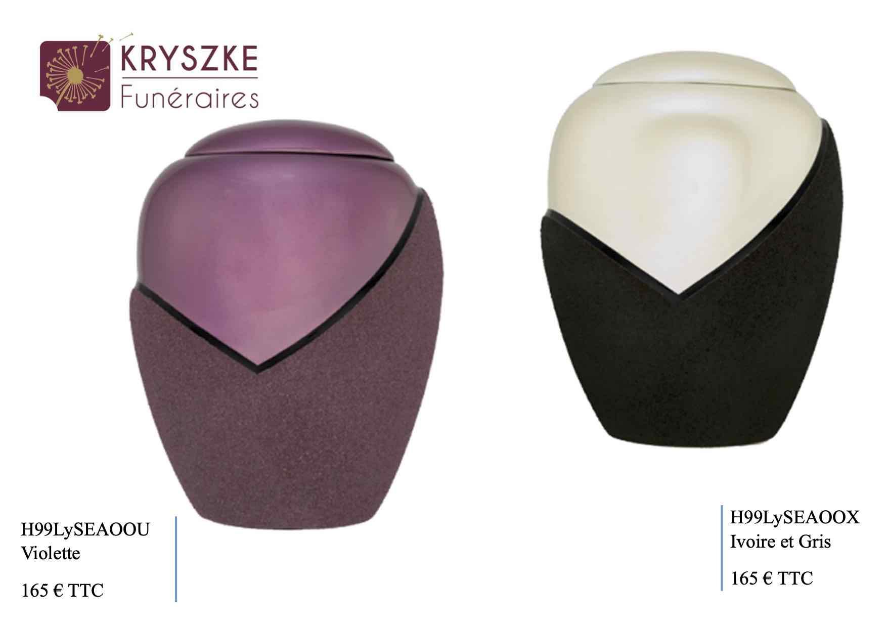 Urne violette / ivoire et gris