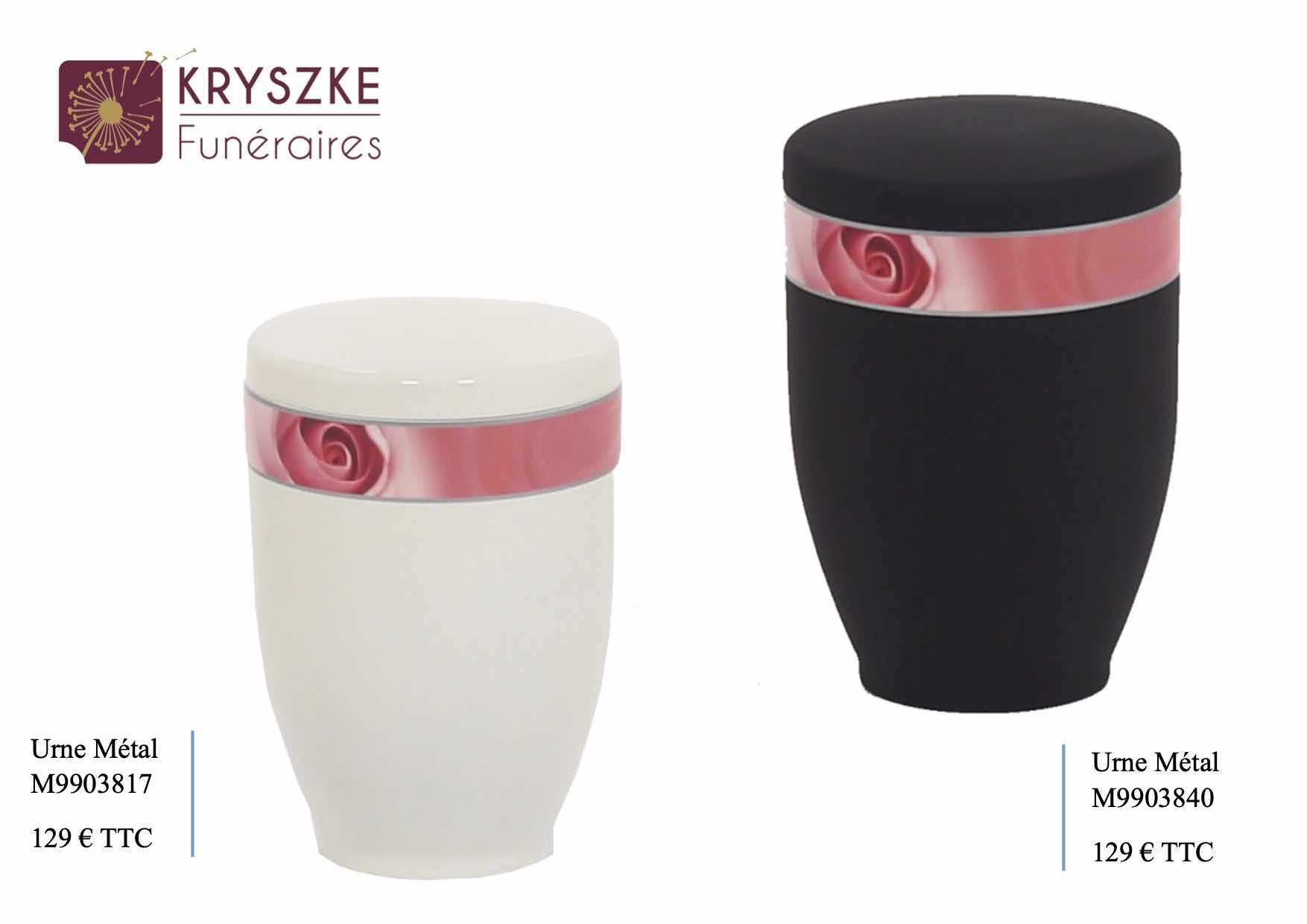 Urne métal à motif rose